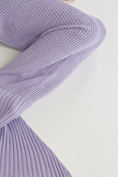 Lilac Knitted Mermaid Tail Blanket