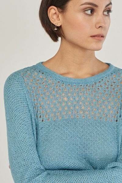 Loose Knit Contrasted Knit Top