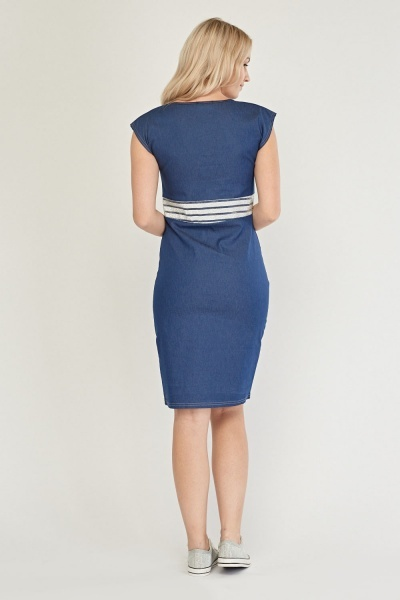 Metallic Trim Midi Denim Dress