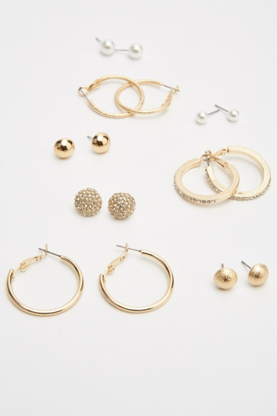 Pack Of 8 Contrasted Earrings Set