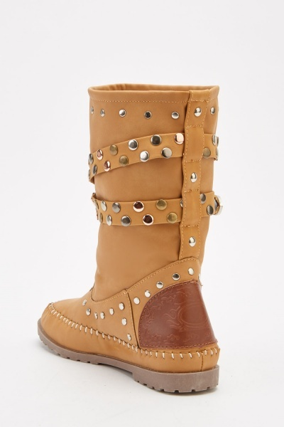 Contrast Buckle Studded Boots