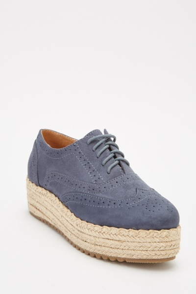 Contrast Suedette Brogue Chunky Shoes