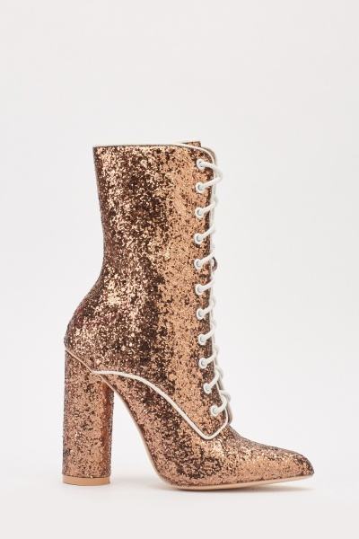 Glittery Lace Up Boots