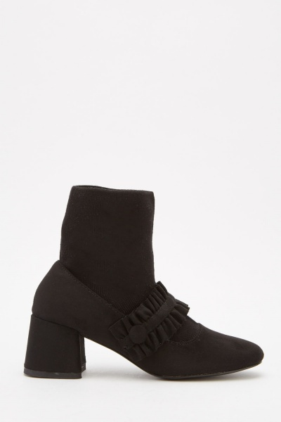 Ruched Sock Overlay Ankle Boots