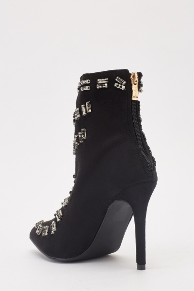 Suedette Front Detail High Heel Boots