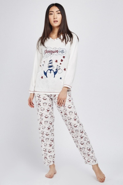 Casual Penguin Print Pyjama Set