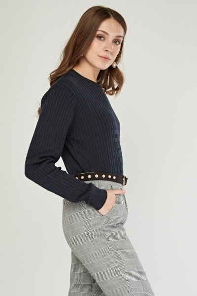 Crew Neck Rib Knit Sweater