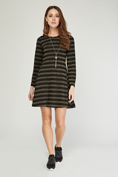 Keyhole Back Metallic Stripe Dress