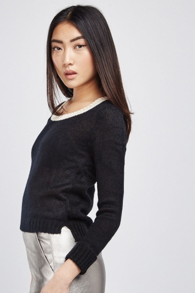 Metallic Scoop Neck Knit Jumper