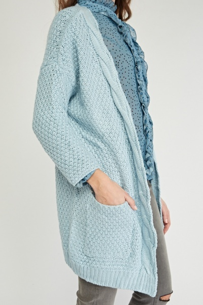 Plaited Chunky Knit Cardigan