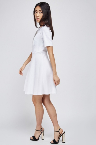 Ribbed Flared Skater Dress