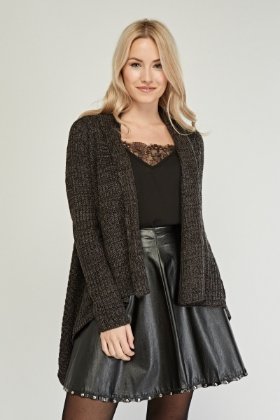 Draped Dip Hem Knit Cardigan