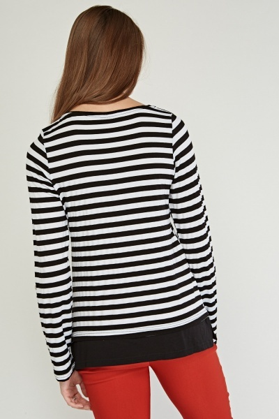 Eyelet Trim Casual Striped Top