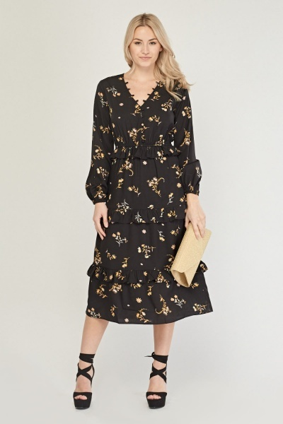 Floral Ruffle Trim Midi Dress