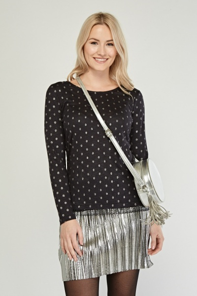 Metallic Polka Dotted Top
