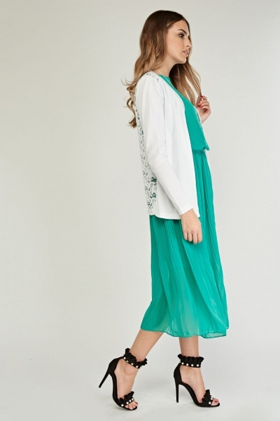 Sheer Lace Contrasted Knit Cardigan