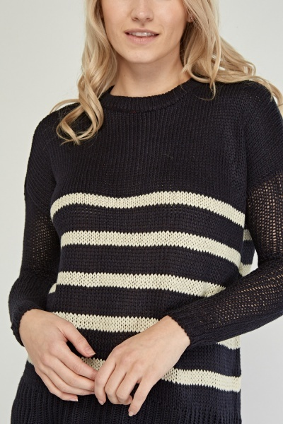 Side Slit Striped Knit Jumper