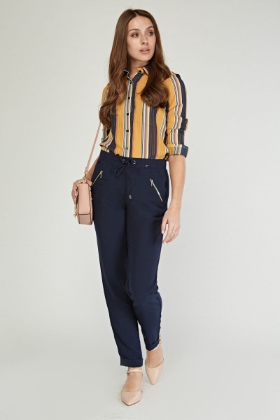 Zipper Front Tapered Trousers