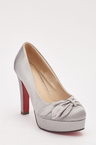 Bow Front Sateen Platformed Shoes