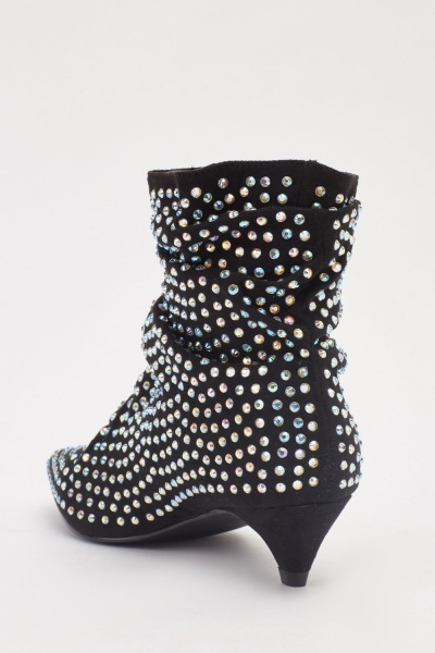 Encrusted Ankle Kitten Heeled Boots