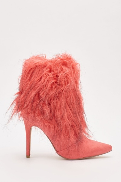 Faux Fur Suedette High Heel Boots