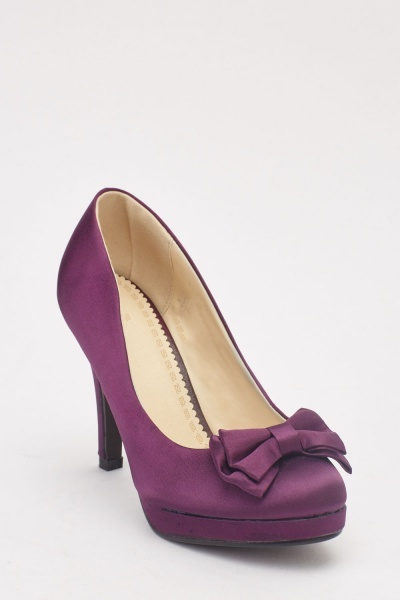 Sateen Bow Front Heeled Shoes