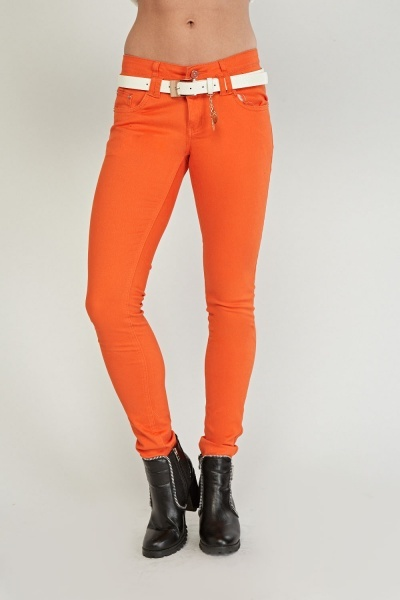 Belted Low Waist Skinny Jeans