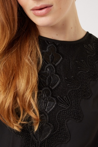 Embroidered Front Black Sheer Top
