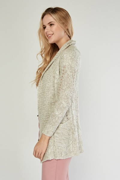 Mixed Knit Open Front Cardigan