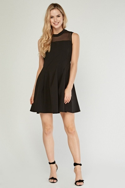 Sheer Neck Skater Dress