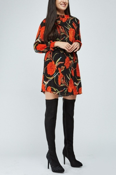Embroidered Suedette Knee High Boots