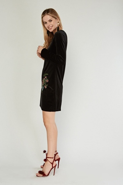 Embroidered Velveteen Dress