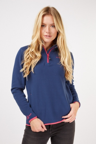 Embroidered Zip Up Poly Fleece Pullover