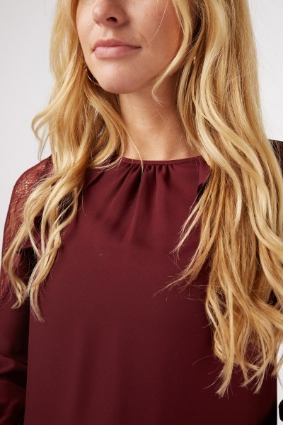 Lace Ruffle Contrasted Blouse