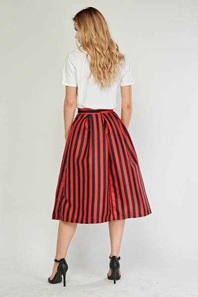 Striped Flared Midi Skirt