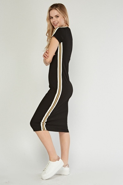 Striped Side Contrasted Bodycon Dress