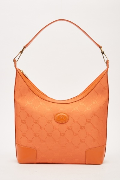 Embroidered Contrast Hobo Bag