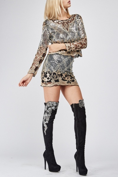 Encrusted Scallop Cut Over The Knee Boots