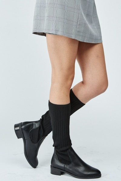 Faux Leather Sock Overlay Boots