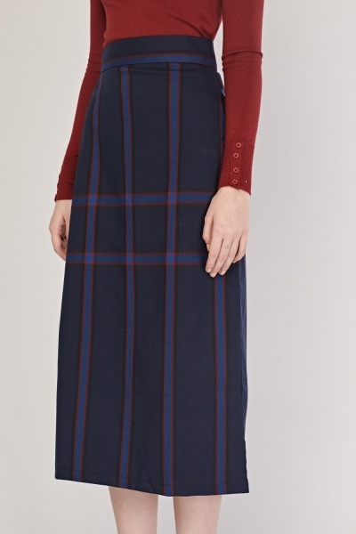 High Waist Midi Plaid Skirt