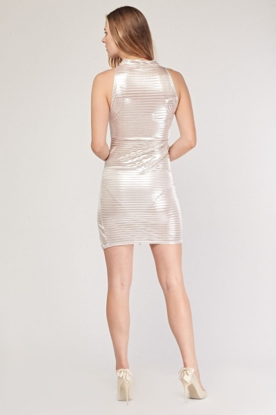 Metallic Choker Neck Mini Dress