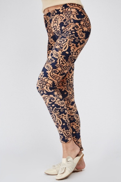 Paisley Print Fleeced Leggings