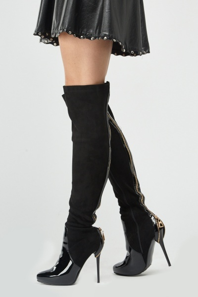 PVC Zipper Back Thigh High Boots