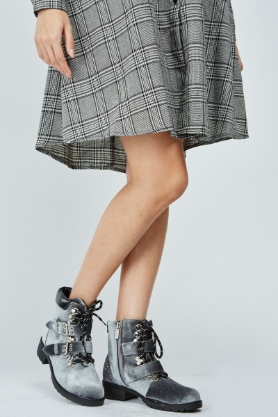 Suedette Buckle Strap Detail Ankle Boots