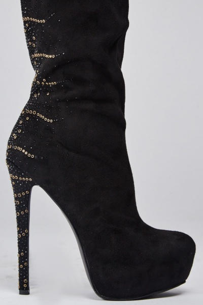 Suedette Encrusted Knee High Boots