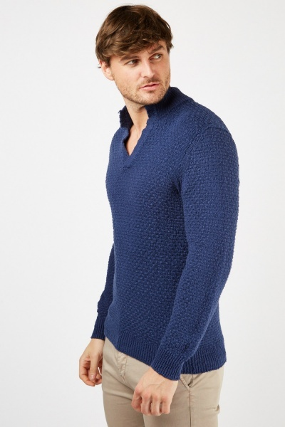 Blue Knitted Weave Jumper