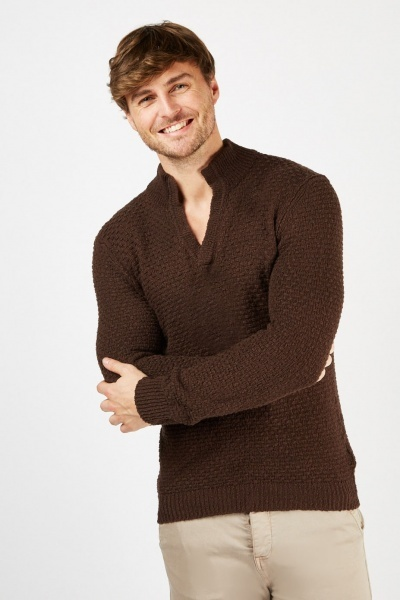 Brown Knitted Weave Jumper