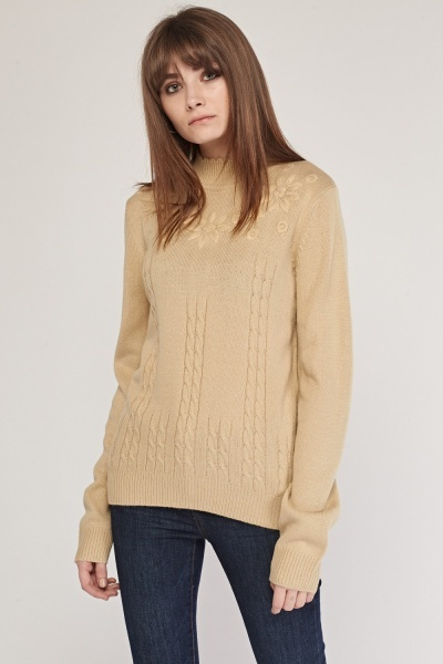 Embroidered Cable Knit Sweater