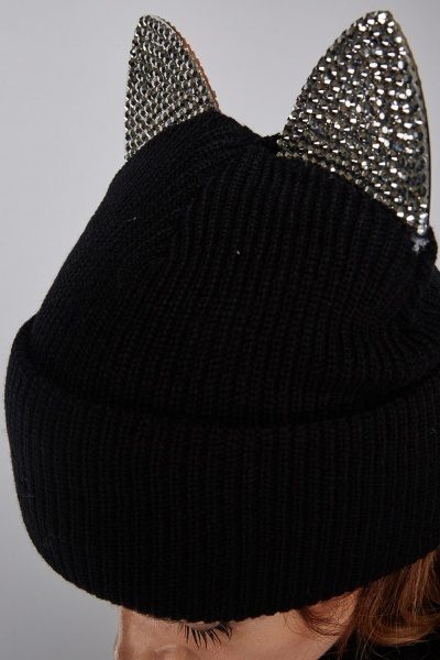 Encrusted Mirrored Cat Beanie Hat