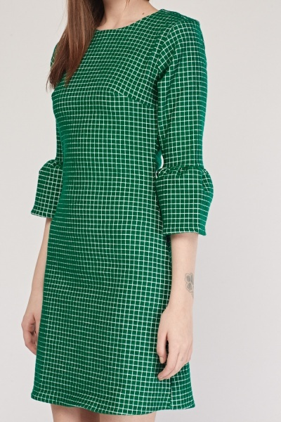 Frilly Checkered Sleeve Shift Dress